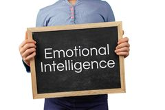 Emotional Intelligence issue depicted with child holding blackboard with text. Emotional Intelligence issue depicted with child holding blackboard with text stock photo