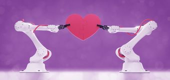 Emotional Intelligence In Robotics. Industrial robots holding heart-shaped simple jigsaw puzzle. 3D-rendering graphic composition on the subject of `Artificial Stock Photography