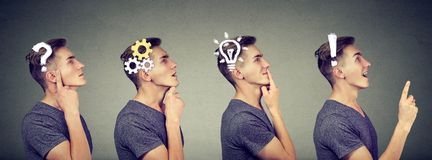 Emotional intelligence. Side view sequence of a man thoughtful, thinking, finding solution with gear mechanism, question, exclamat. Ion, lightbulb symbols. Human Stock Photo