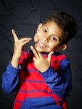 Emotional little black afro-american boy portrait Stock Photography