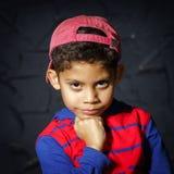 Emotional little black afro-american boy portrait Stock Photo