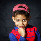 Emotional little black afro-american boy portrait Royalty Free Stock Photo