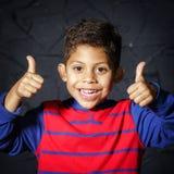 Emotional little black afro-american boy portrait Stock Photos