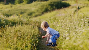 Emotional little boy in nature taking its first steps.