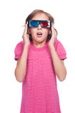 Emotional little girl in 3d glasses. Portrait of emotional little girl in 3d glasses. isolated on white background stock photo