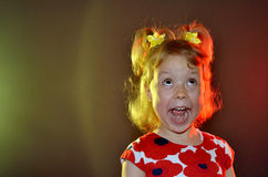 Emotional little girl close-up. Royalty Free Stock Image
