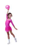 Emotional little gymnast dancing with ball Stock Photo