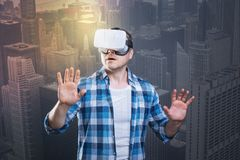 Emotional man admiring the beauty in his virtual reality device Royalty Free Stock Photo