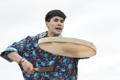 Emotional man dancer dancing with a tambourine. Kamchatka, Russia Stock Photos