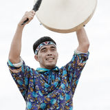 Emotional man dancer dancing with a tambourine. Russia, Kamchatka Royalty Free Stock Images