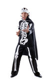 Emotional man dressed as king of skeletons Stock Images