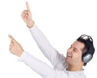 Emotional man in headphones Royalty Free Stock Image