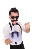 Emotional man with loudspeaker isolated on white Royalty Free Stock Photography