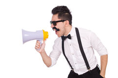 The emotional man with loudspeaker isolated on Stock Images
