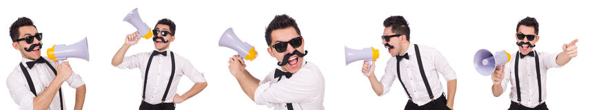The emotional man with loudspeaker isolated on white Royalty Free Stock Photos