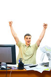 Emotional man in office Stock Images