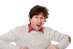 Emotional man with shaggy hair Royalty Free Stock Image