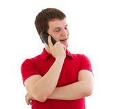 Emotional man talking on the phone Stock Photo