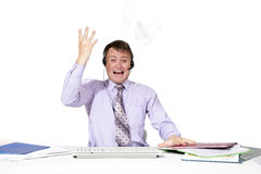 Emotional man working Royalty Free Stock Images