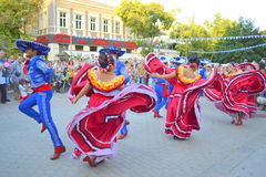 Emotional Mexicans dancing Stock Images