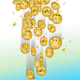 Emotional money. Windfall from money with emotion - a symbolic illustration Royalty Free Stock Photos