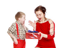 Emotional mother and son happy gift of Royalty Free Stock Photo