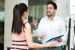 Emotional negotiations Stock Photos