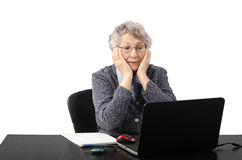 Emotional old lady having skype conversation Royalty Free Stock Photos