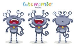 Emotional Person. Cute Cartoon Monsters Emotions. Vector Set Isolated On White Background. Stock Image