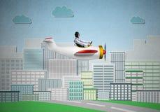 Emotional pilot sitting in small propeller plane royalty free illustration