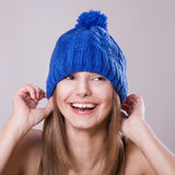 Emotional portrait. Of a girl in hat stock photo