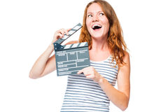 Emotional portrait of an actress with a movie clapper Stock Photo