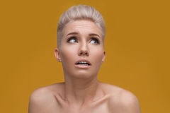 Emotional portrait of amazed woman Royalty Free Stock Photography