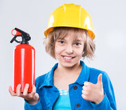Little girl in hard hat Royalty Free Stock Photos