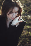 Emotional portrait beautiful expressive woman wind hair Stock Photos