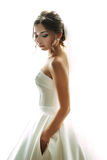 Emotional portrait of the bride in the gorgeous gown. Emotional portrait of the bride in the gorgeous  gown a Royalty Free Stock Images