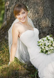 Emotional portrait of caucasian happy bride Stock Photography
