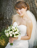Emotional portrait of caucasian happy bride Royalty Free Stock Photography