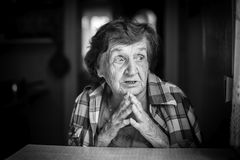 Emotional portrait of an elderly woman. Stock Photos