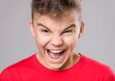 Teen boy portrait. Emotional portrait of irritated shouting teen boy. Furious teenager screaming and looking with anger at camera. Handsome outraged child Royalty Free Stock Images
