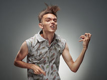 Emotional Portrait Of A Teenager Playing On Air Guitar Royalty Free Stock Photography