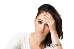 Emotional portrait of a sad looking brunette. Stock Photo
