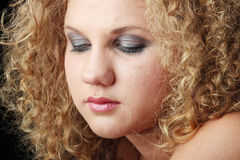 Emotional portrait with tears on the face Stock Images