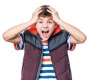 Emotional portrait of teen boy Royalty Free Stock Photos