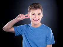 Emotional portrait of teen boy Stock Images