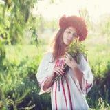 Emotional portrait of ukranian woman Stock Photos