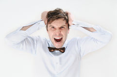 Emotional portrait of young angry screaming man Stock Image