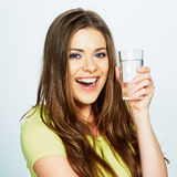 Emotional portrait of young woman holding water glass Stock Images