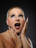 Emotional pretty woman face with bright make-up Royalty Free Stock Image