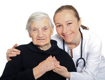 Psychological and mental health in old age. Emotional and psychological support after the loss of someone Stock Image